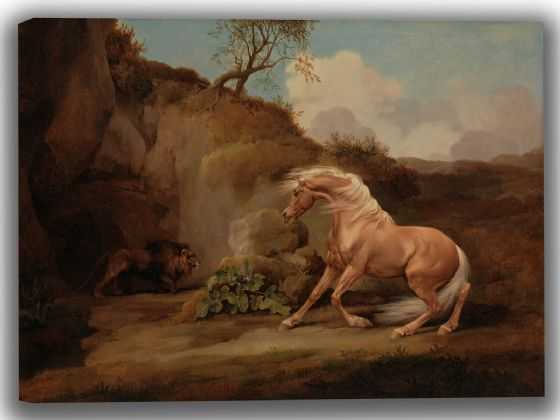 Stubbs, George: Horse Frightened by a Lion. Fine Art Canvas. Sizes: A4/A3/A2/A1 (004116)